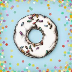 Illustration eines Donuts mit farbigen Streuseln und Konfetti