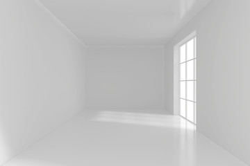 Empty white room with big windows. 3d rendering.