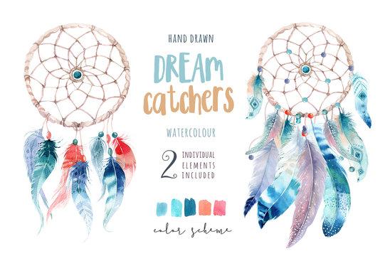 Isolated Watercolor decoration bohemian dreamcatcher. Boho feath