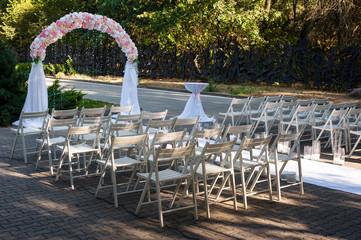 wedding ceremony arch fresh flowers