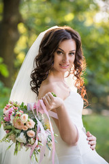 Wedding. Beautiful bride outdoors