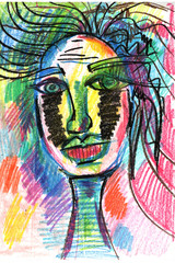 face in decorative style. fashion illustration. pastel-6