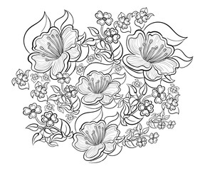 Hand drawn ink pattern. Coloring book for adult