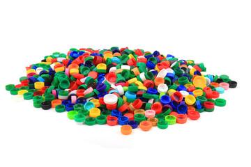 plastic pet caps isolated