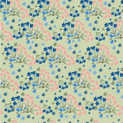 Cute simple pattern with wildflowers. Shabby chic, vintage, Provence. Seamless floral pattern for textile, gift packaging, Wallpaper, scrapbooking, and book covers. Color Botanical background.