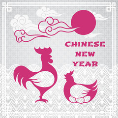 Vector illustration of rooster (animal symbol of chinese new year 2017) and chicken silhouettes with oriental vintage frame on light grey pattern background for greeting card