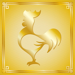 Vector illustration of rooster (animal symbol of chinese new year 2017) silhouette with oriental vintage frame on pattern golden background for greeting card