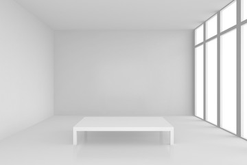 pedestal in white room with windows. 3d rendering.