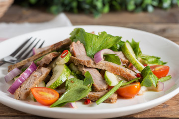 Close up, Spicy salad of grilled beef. Thai style food.