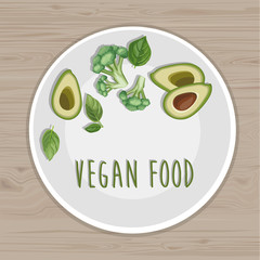 Vegan food. Plate with avocado, broccoli and basil leaves. Top view. Wood background.  Hand drawn illustration. Title page for your receipt book.