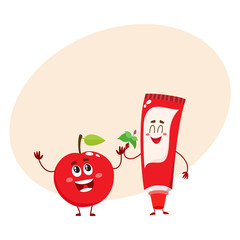 Cute and funny toothpaste and red apple character, dental care concept, cartoon vector illustration with place for text. Toothpaste, apple characters, teeth health, dental care, good habits