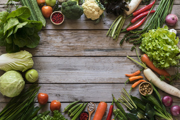 Fresh farmers market fruit and vegetable from above with copy sp