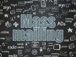 Marketing concept: Mass Mailing on School board background