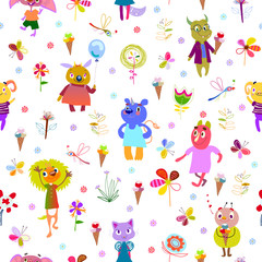 Jolly monsters. Seamless pattern with funny fantastic characters and unusual flowers, butterflies, dragonflies, ice cream. Bright colorful background for children design. Summer collection. Vector
