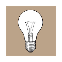 Traditional transparent tungsten light bulb, side view, sketch style vector illustration isolated on brown background. Realistic hand drawing of retro style transparent tungsten light bulb