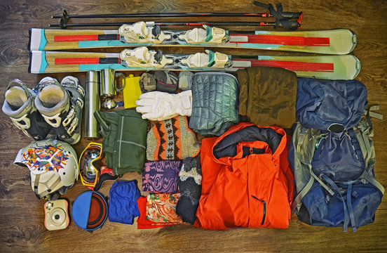 Winter sports equipment set , ski clothes and accessories