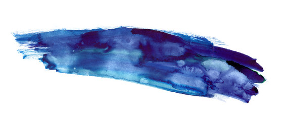Smear of dark blue watercolor paint on clean white background