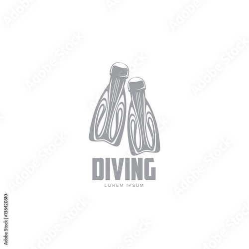 Black And White Graphic Diving Logo Template With Pair Of Flippers Vector Illustration Isolated On