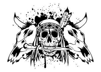 skulls bull and skull Indian
