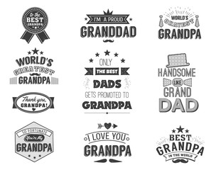 Isolated Grandfathers quotes on the white background. Grandpa congratulation label, badge vector collection. Granddads Mustache, hat, stars elements for your design