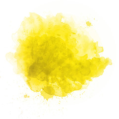 Beautiful yellow watercolor splash