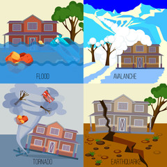 Poster Groene koraal Set of natural disasters banners tornado, earthquake, avalanche, flood