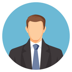 Faceless businessman avatar. Man in suit with blue tie.