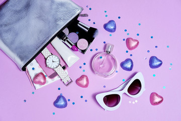 Wall Mural - Top bag girl with accessories purple flat lay. Sweet sunglasses