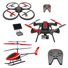 Helicopter and quadrocopter, quadcopter with camera, remote controls set