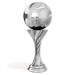 silver trophy with volleyball