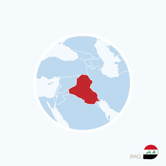 Map icon of Iraq. Blue map of Middle East with highlighted Iraq.