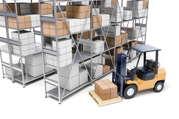 3d metal rack warehouse with boxes