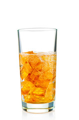 Ice drink in glass on white background