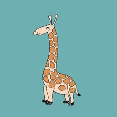 Vector baby giraffe. Cartoon illustration