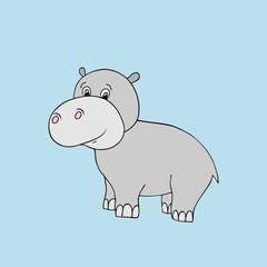 Vector baby hippo. Cartoon illustration