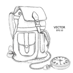 Hand drawn Vector Backpack and pocket watch on a chain. It's time to travel Concept.  Vector illustration