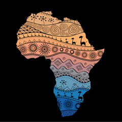 Textured vector map of Africa. Hand-drawn ethno pattern, tribal background. Vector illustration. Abstract colored Background