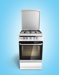 Gas stove 3d render on blue gradient