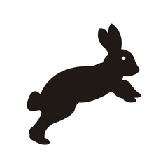Rabbit silohuette isolated in black color.