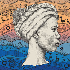 Girl in turban with African hand draw ethno pattern, tribal background. Beautiful black woman. Profile view. Vector illustration