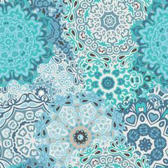 intricate lace mandalas. floral ornamental seamless pattern