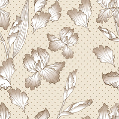 Floral seamless pattern with hand drawn iris flowers. Summer floral background on polka dots. Seamless background for textile, paper, decoration and wrapping