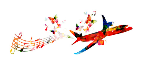 Colorful airplane with music notes and butterflies vector illustration