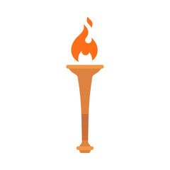 Olympic torch with bright flame isolated against white background