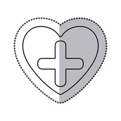 symbol cross inside heart icon, vector illustration design