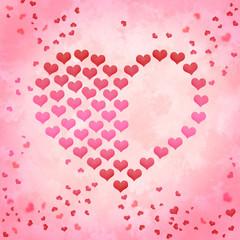 Valentinstag Herzen gemalt auf pastell marmoriertem Hintergrund