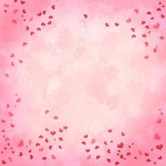 Valentinstag Hintergrund Herzen auf rosa Aquarell