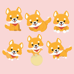 Shiba Inu Dog Cartoon Set Vector.