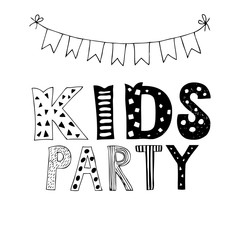 Kids Party lettering, party illustration with garlands.