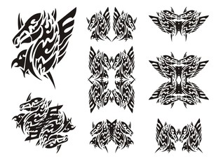 Winged horse-eagle symbols in tribal style. Abstract symbol in the form of the head of an eagle and the head of a horse. Double imaginary animal symbols in black and white options